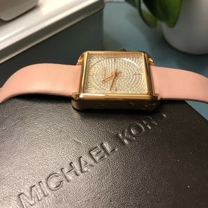 Michael Kors Pink Leather Watch with Diamonds Gold